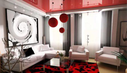 Цветной глянцевый натяжной потолок в гостиную 16 кв.м