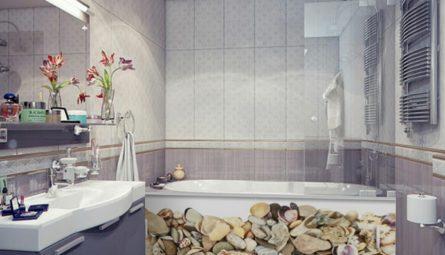 Глянцевый натяжной потолок в ванную 2,7 кв.м