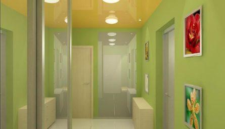 Лаковый цветной натяжной потолок в прихожую 6 кв.м