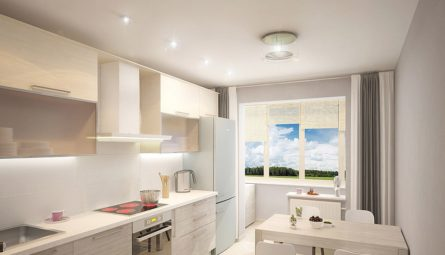 Матовый натяжной потолок на кухню 12 кв.м