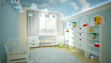 Матовый натяжной потолок с фотопечатью в детскую 9 кв.м