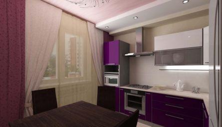 Натяжной потолок на кухню 10,5 кв.м с переходом в уровень