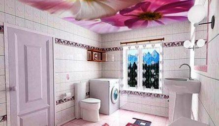 Натяжной потолок с фотопечатью в ванную 4,4 кв.м