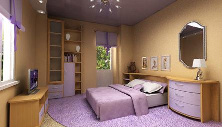 Натяжной потолок в спальню 11,85 кв.м с переходом в уровень