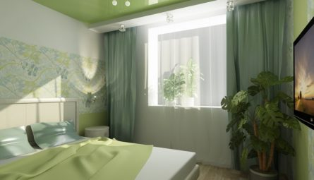 Натяжной потолок в спальню 9,5 кв.м