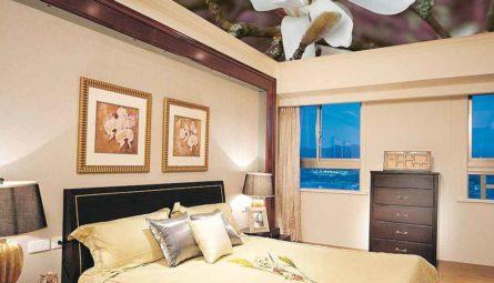 Натяжной потолок в спальню с фотопечатью 11,71 кв.м