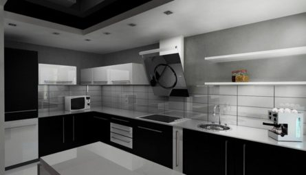 Потолок на кухне 10,4 кв.м с переходом в уровень